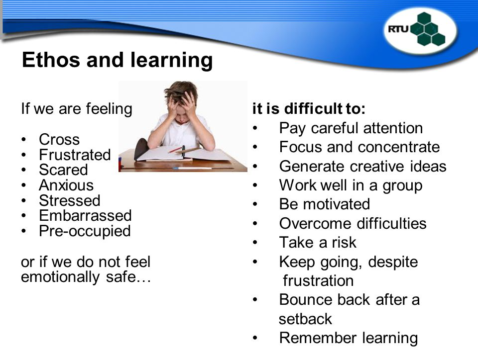 Ethos and learning If we are feeling Cross Frustrated Scared Anxious