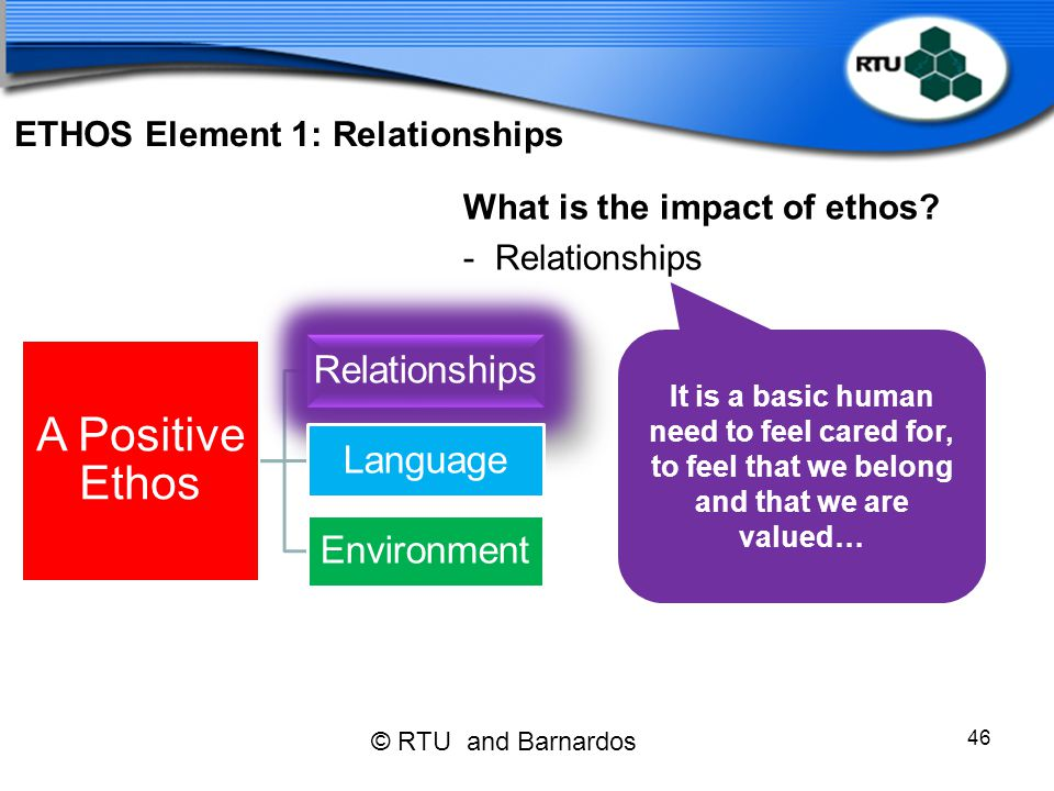 ETHOS Element 1: Relationships