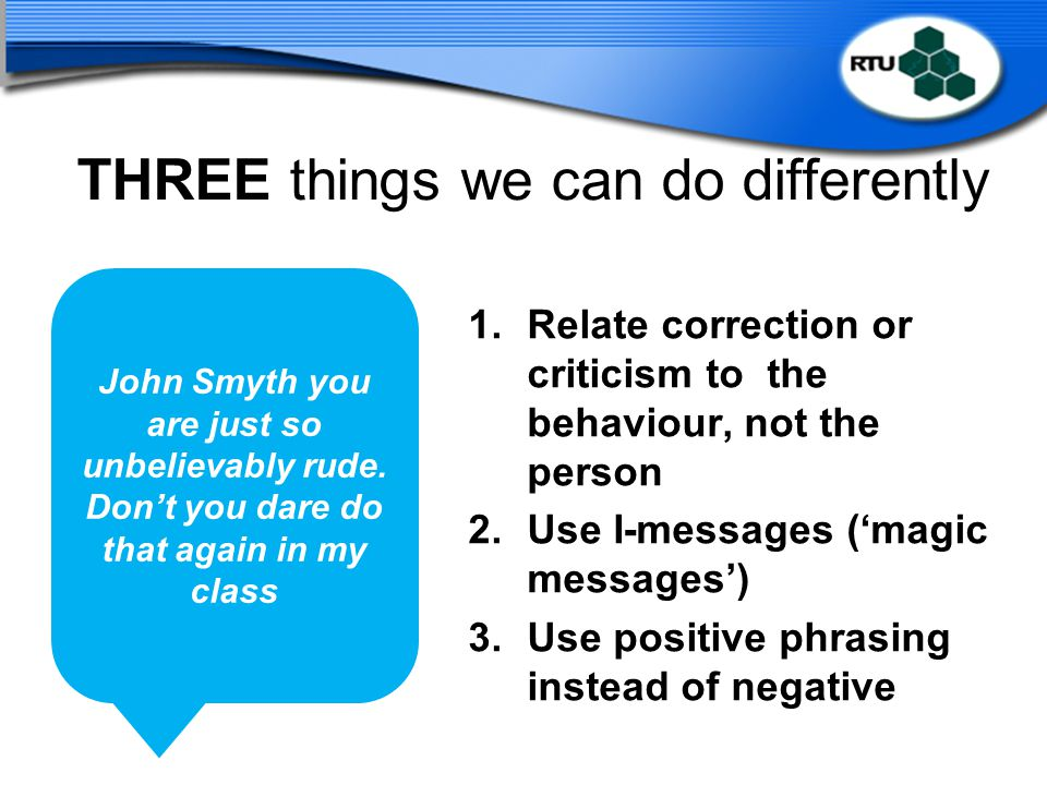 THREE things we can do differently