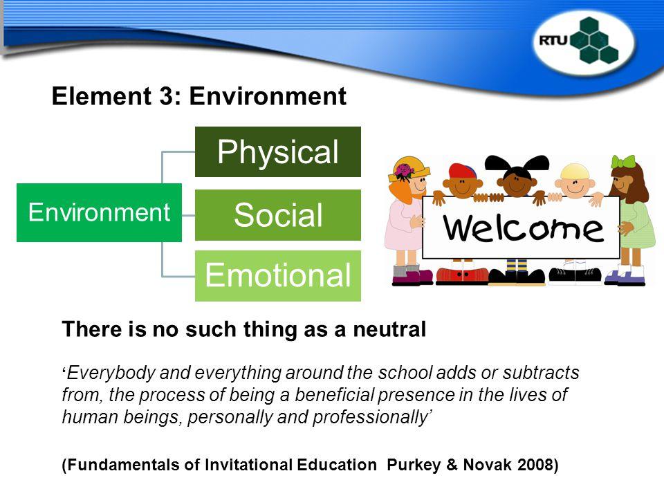 Physical Emotional Social Environment Element 3: Environment