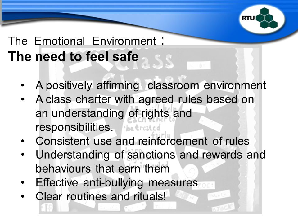 The Emotional Environment : The need to feel safe