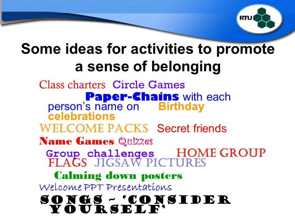 Some ideas for activities to promote a sense of belonging