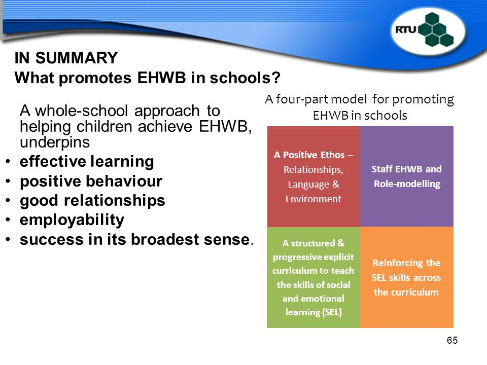 IN SUMMARY What promotes EHWB in schools