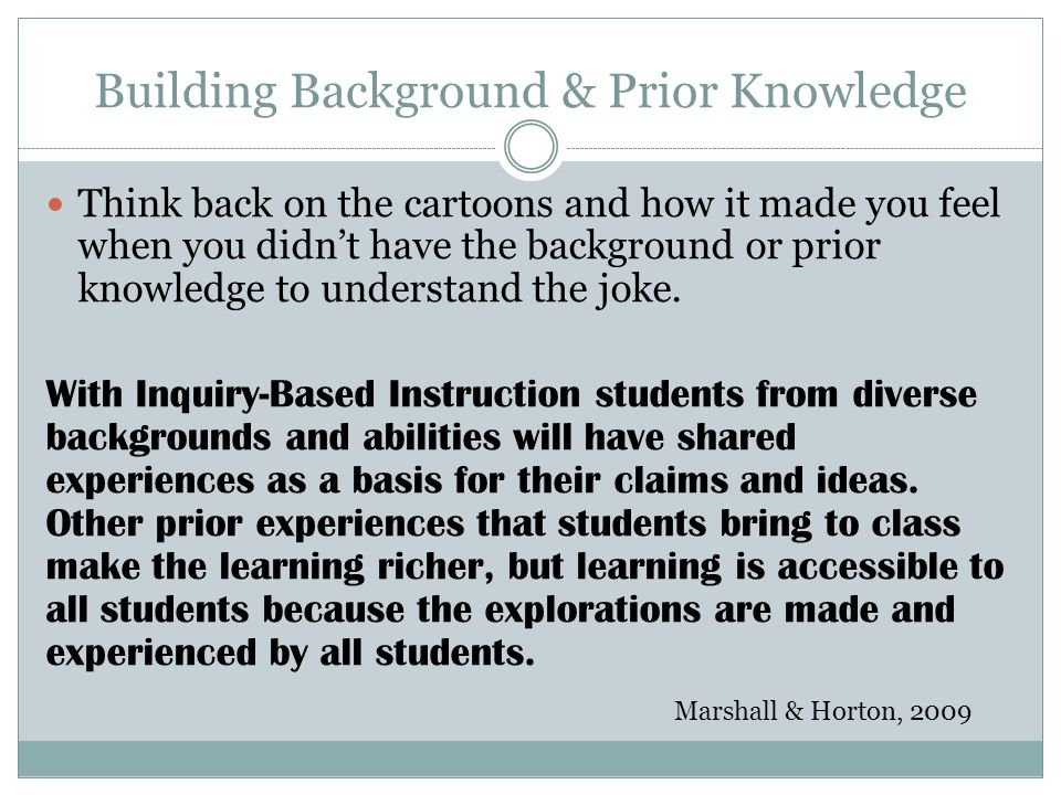 Building Background & Prior Knowledge