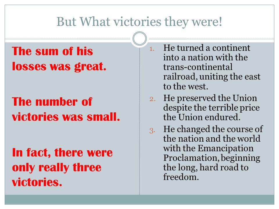 But What victories they were!