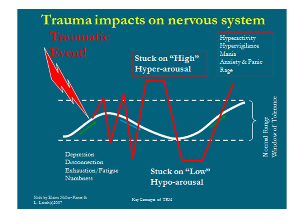 This slide shows how with repeated stressors a person may not return to the normal baseline and may function in a constant state of hyper or hypo- arousal.