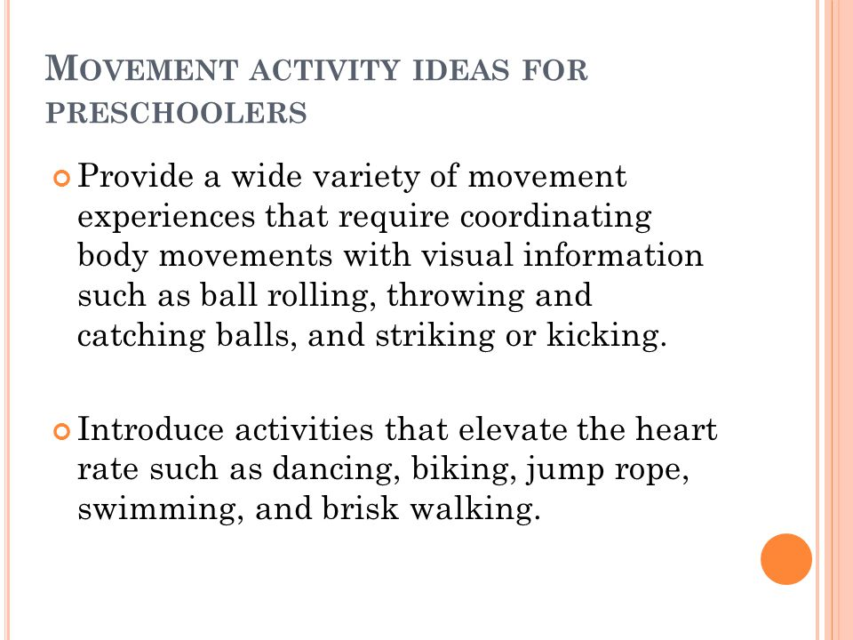 Movement activity ideas for preschoolers
