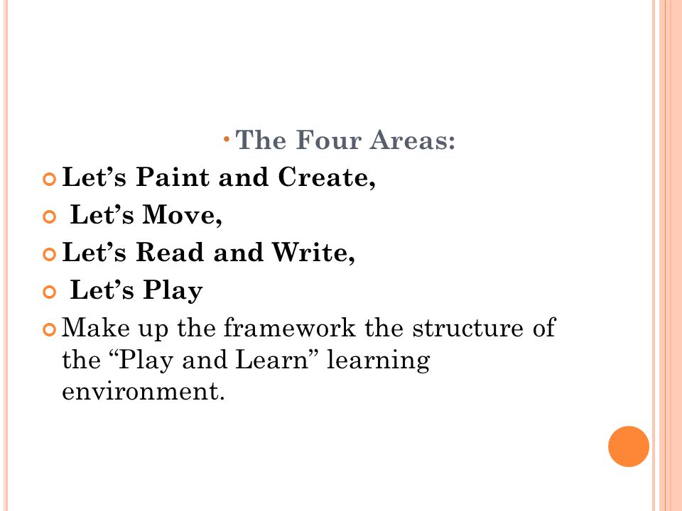 The Four Areas: Let's Paint and Create, Let's Move, Let's Read and Write, Let's Play.
