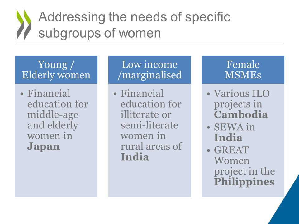 Addressing the needs of specific subgroups of women