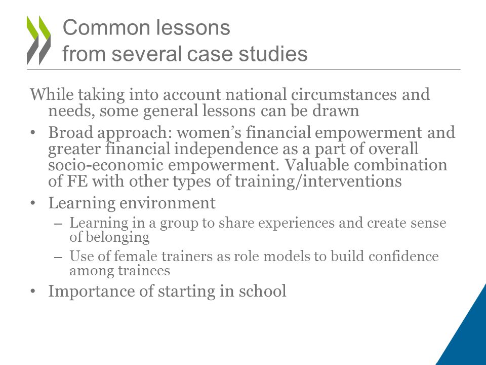 Common lessons from several case studies