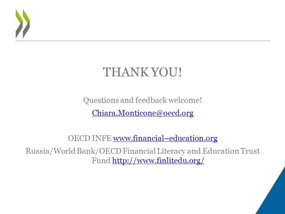 THANK YOU! Questions and feedback welcome! Chiara.Monticone@oecd.org