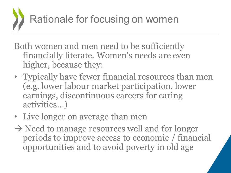 Rationale for focusing on women