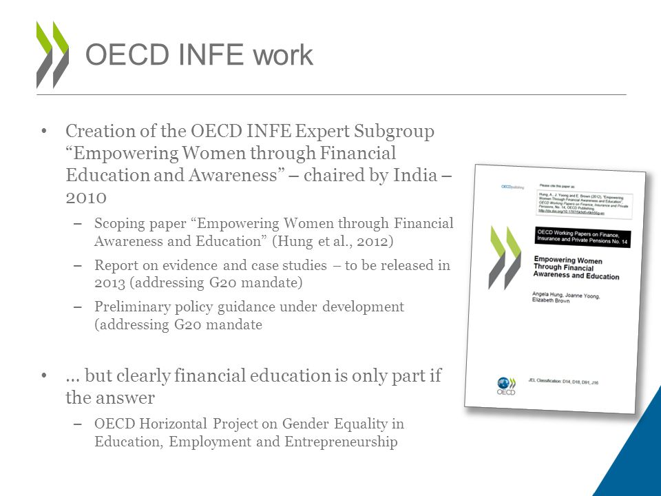 OECD INFE work Creation of the OECD INFE Expert Subgroup Empowering Women through Financial Education and Awareness – chaired by India – 2010.