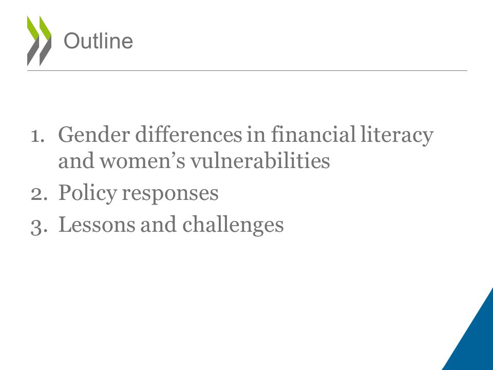 Outline Gender differences in financial literacy and women's vulnerabilities.