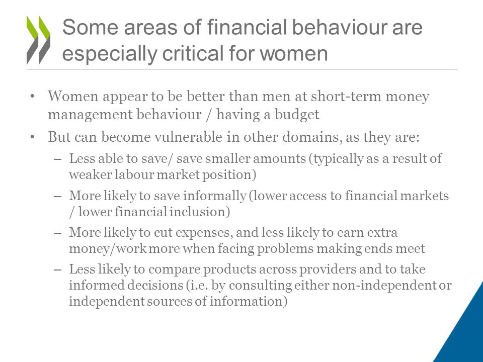 Some areas of financial behaviour are especially critical for women