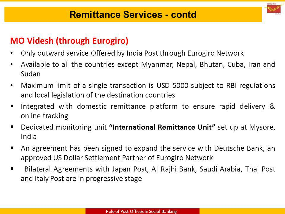 Remittance Services - contd