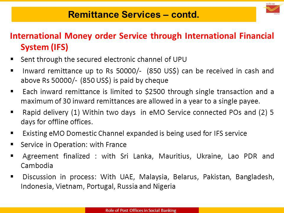 Remittance Services – contd.