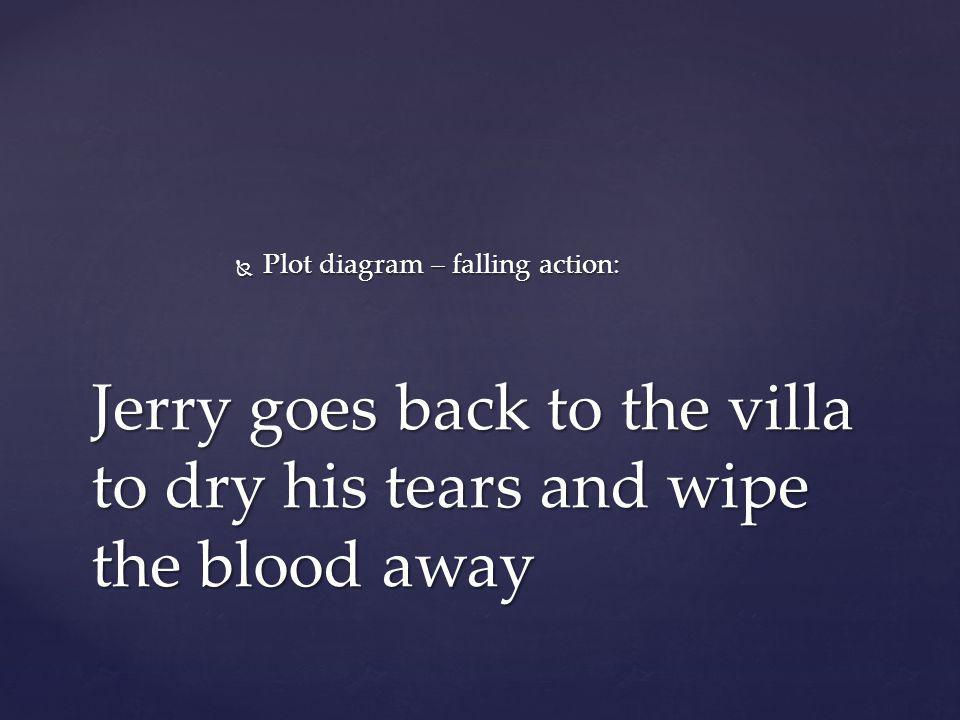Jerry goes back to the villa to dry his tears and wipe the blood away