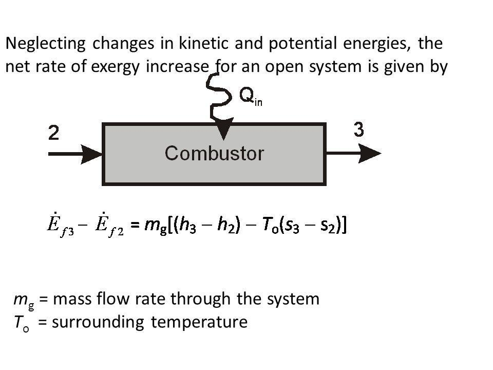 Neglecting changes in kinetic and potential energies, the net rate of exergy increase for an open system is given by