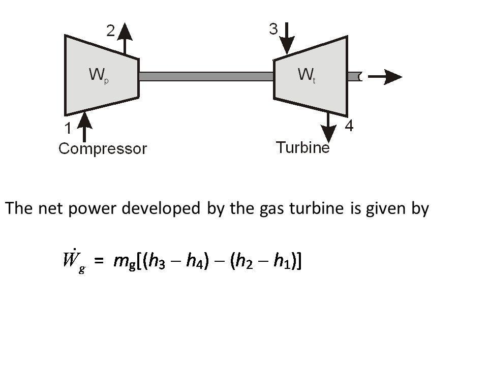 The net power developed by the gas turbine is given by