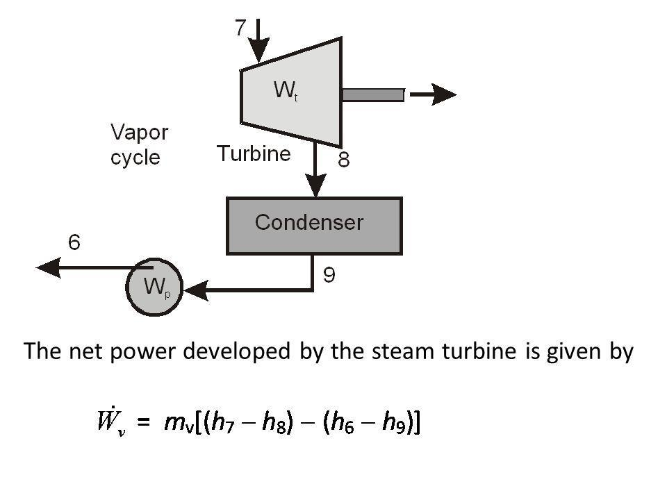 The net power developed by the steam turbine is given by