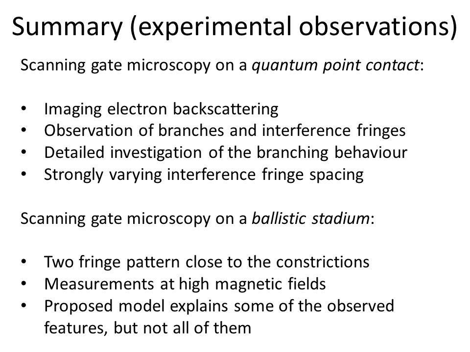 Summary (experimental observations)