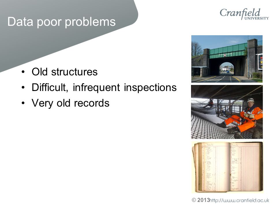 Data poor problems Old structures Difficult, infrequent inspections