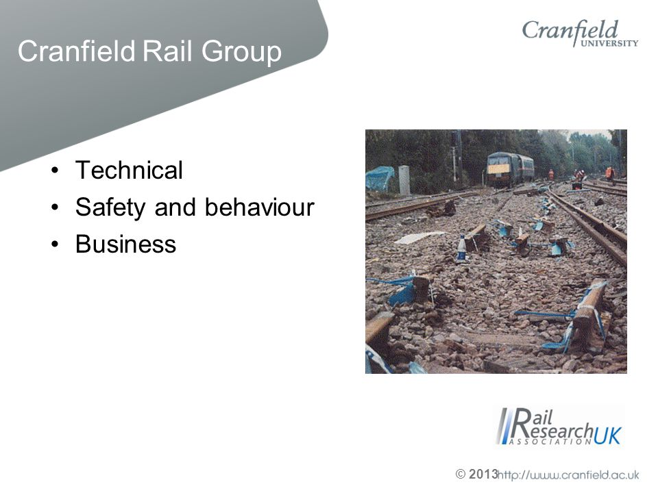 Cranfield Rail Group Technical Safety and behaviour Business