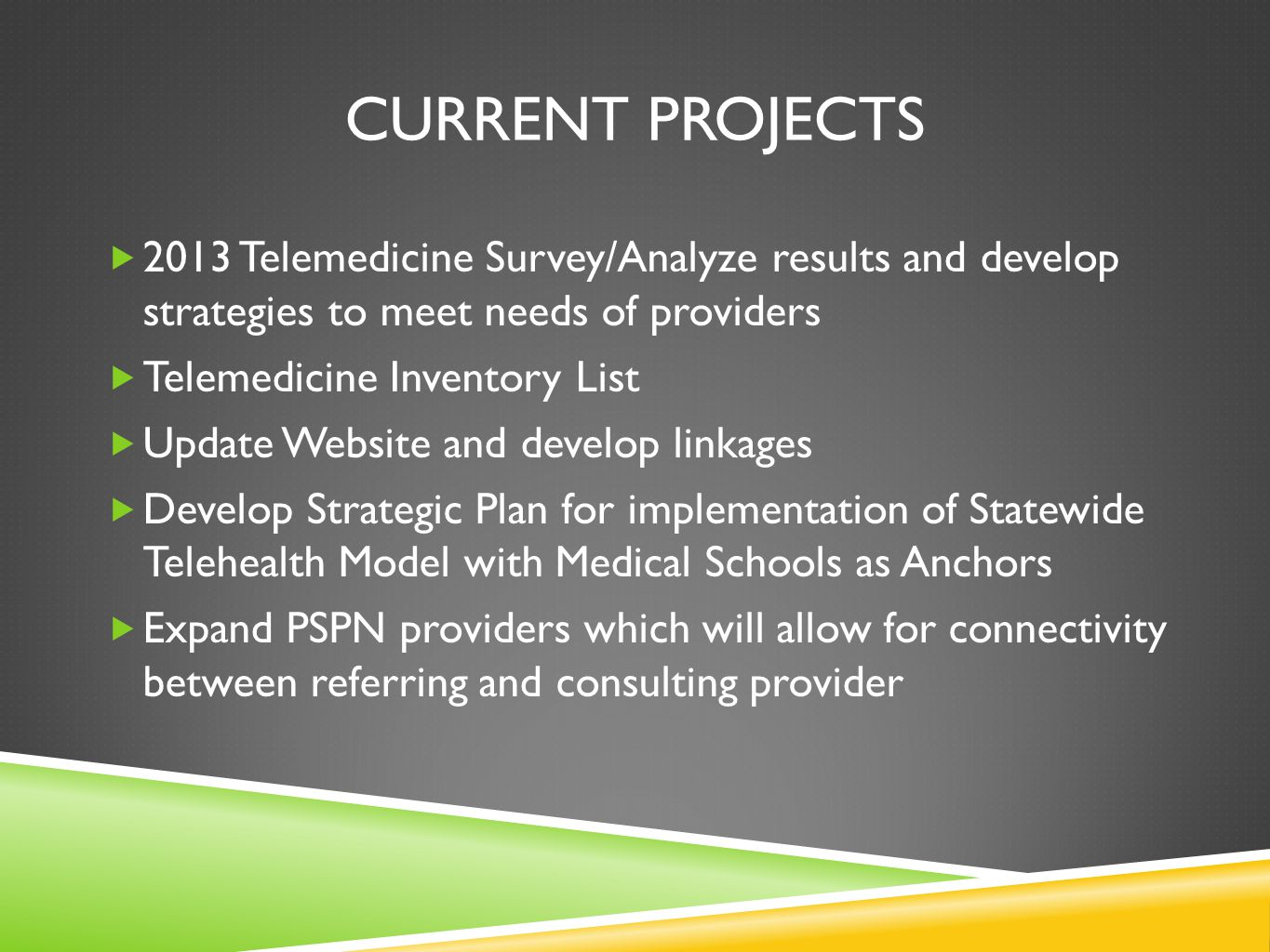 Current projects 2013 Telemedicine Survey/Analyze results and develop strategies to meet needs of providers.