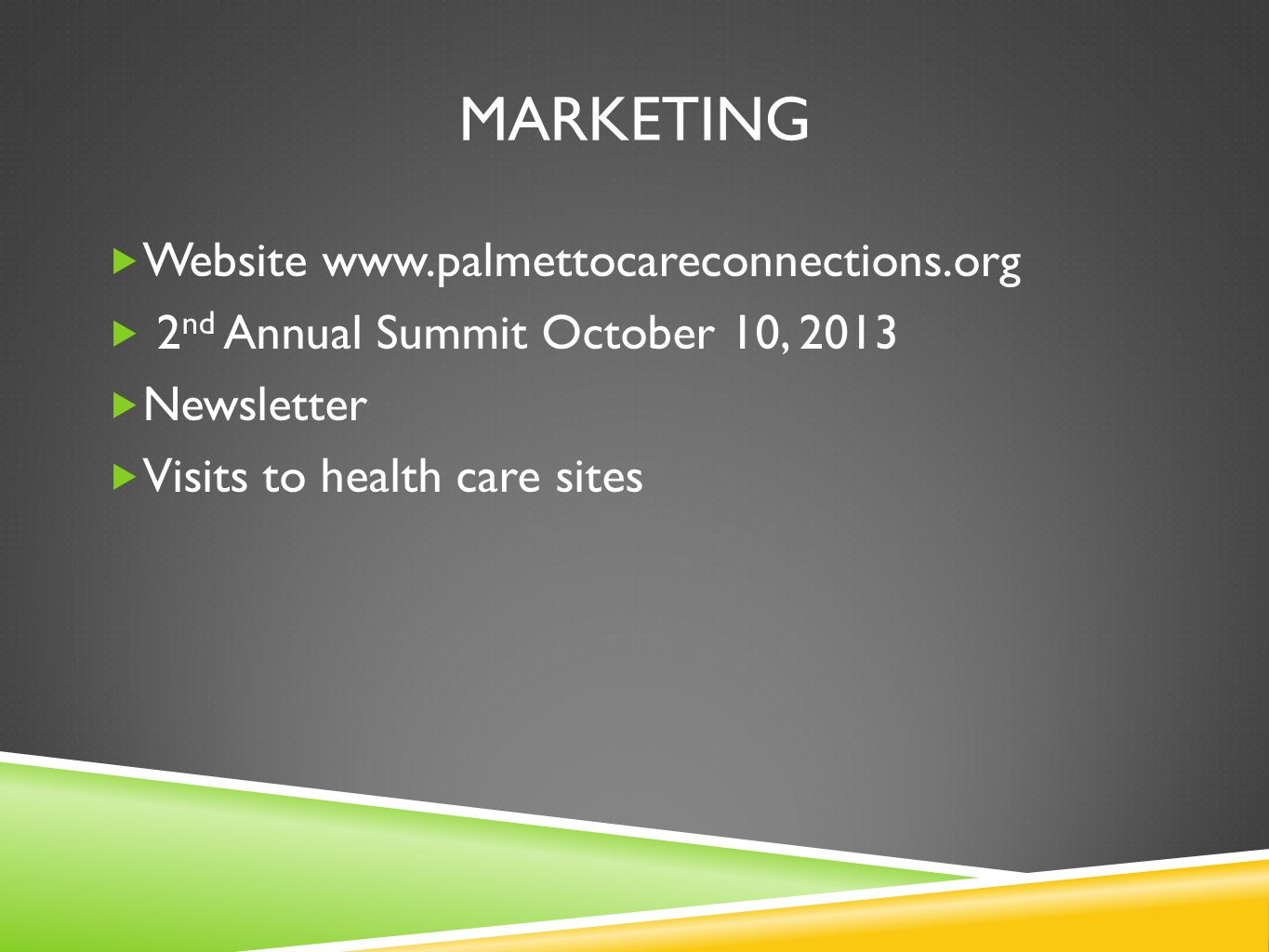 marketing Website www.palmettocareconnections.org