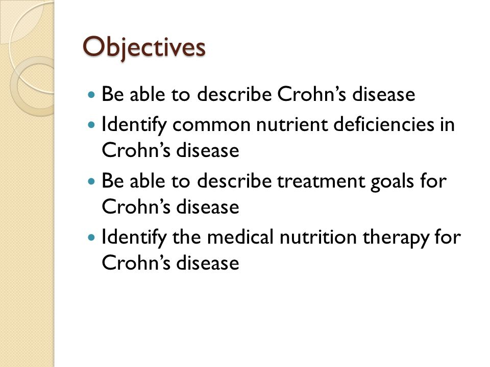 Objectives Be able to describe Crohn's disease