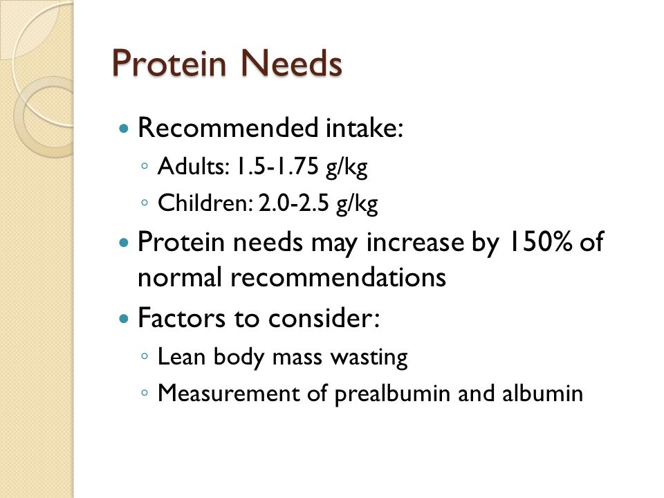 Protein Needs Recommended intake: