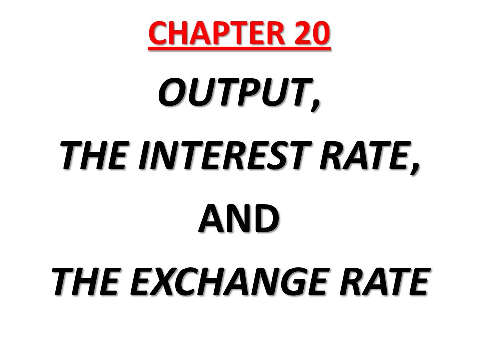 OUTPUT, THE INTEREST RATE, AND THE EXCHANGE RATE
