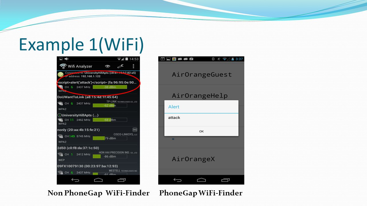 Example 1(WiFi) Non PhoneGap WiFi-Finder PhoneGap WiFi-Finder