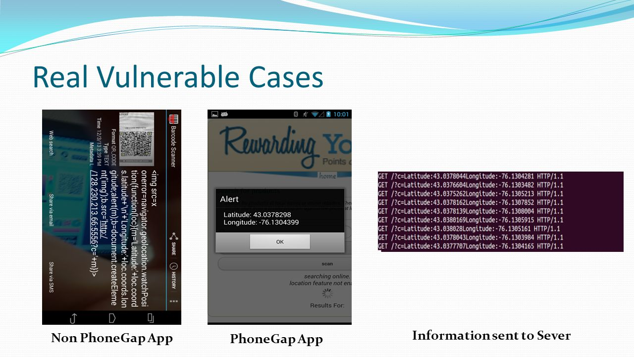 Real Vulnerable Cases Information sent to Sever Non PhoneGap App