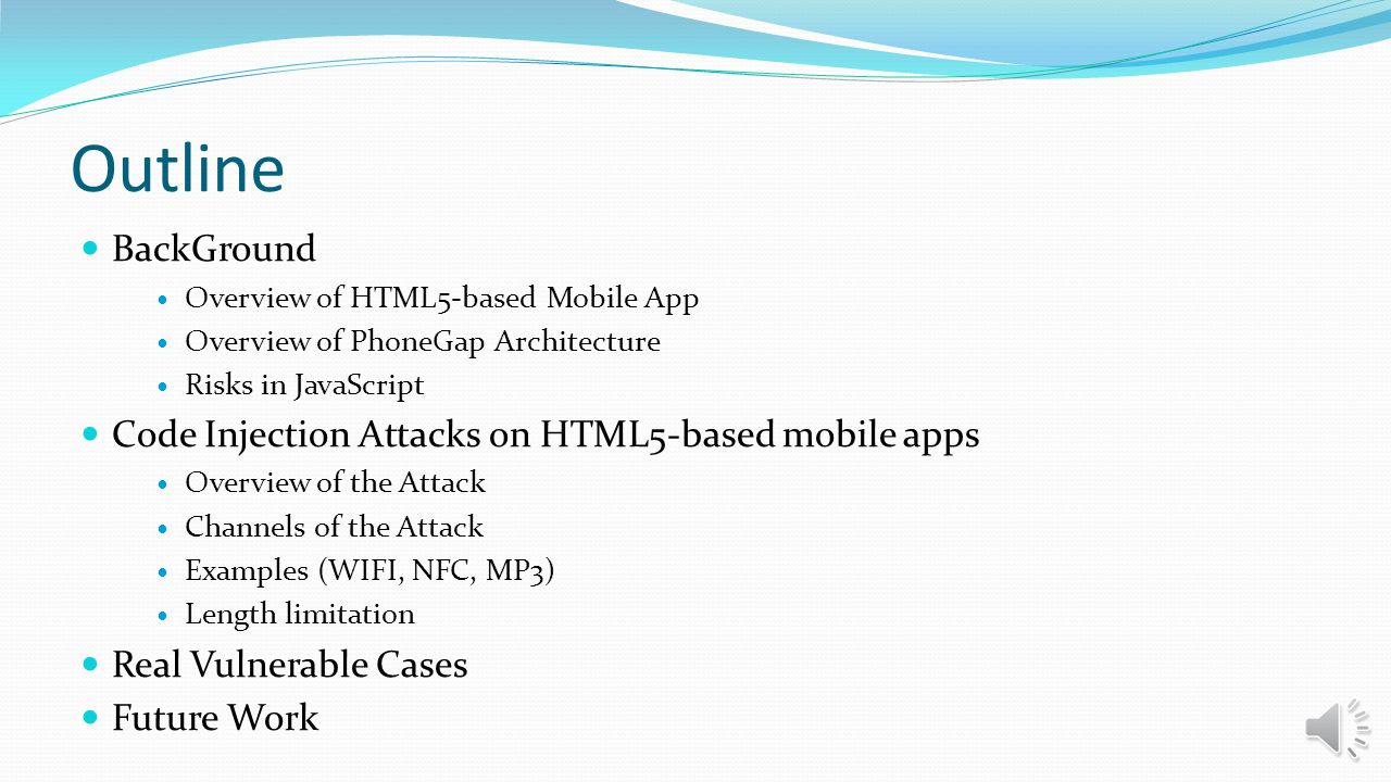 Outline BackGround Code Injection Attacks on HTML5-based mobile apps