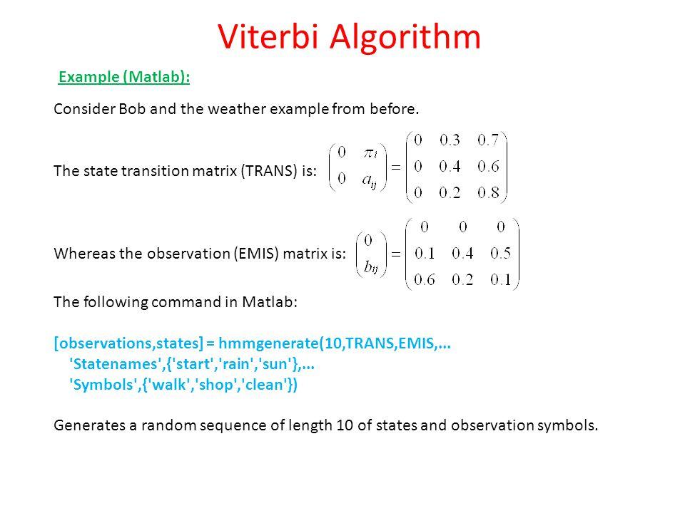 Viterbi Algorithm Example (Matlab):