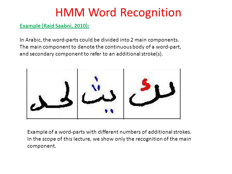 HMM Word Recognition Example (Raid Saabni, 2010):