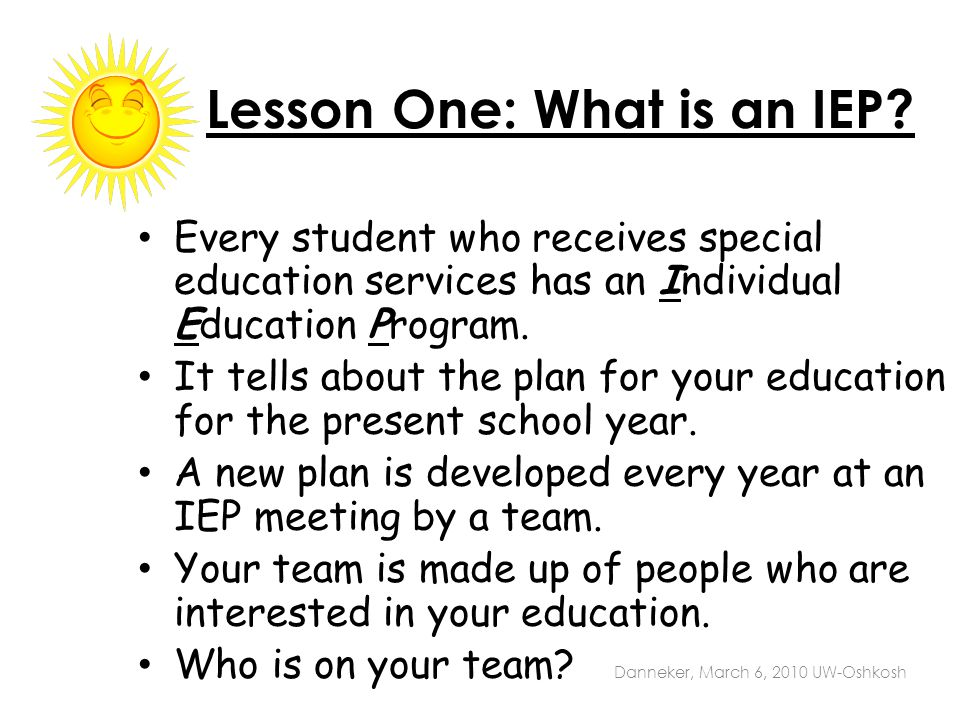 Lesson One: What is an IEP