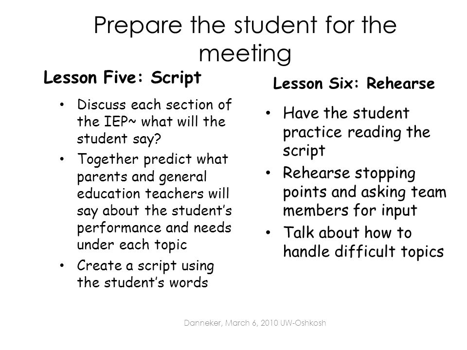 Prepare the student for the meeting