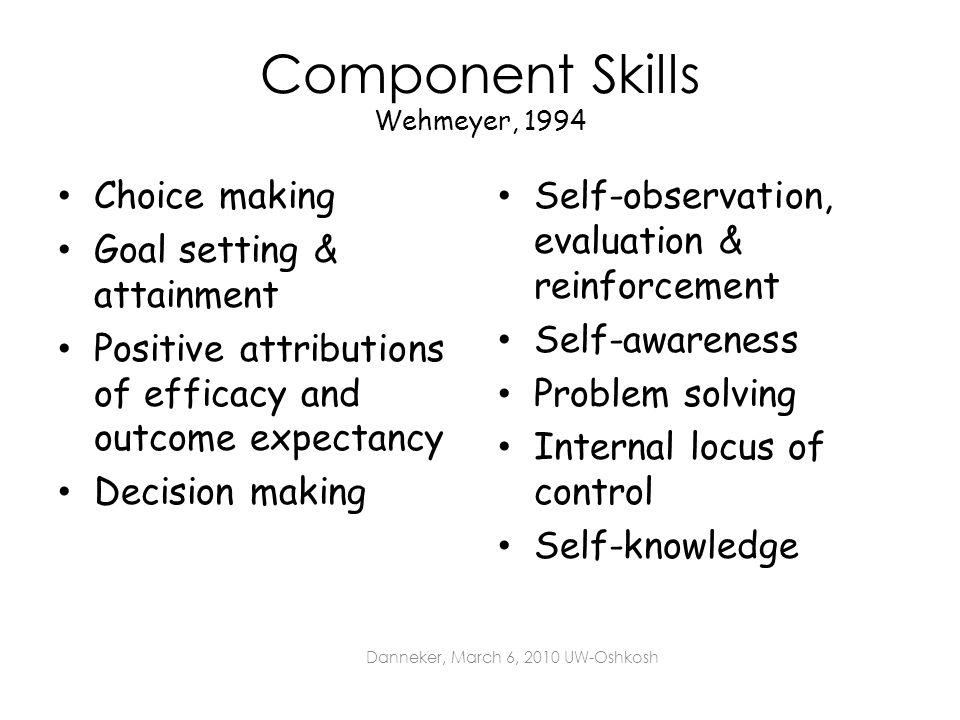 Component Skills Wehmeyer, 1994