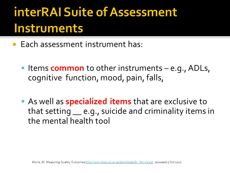 interRAI Suite of Assessment Instruments