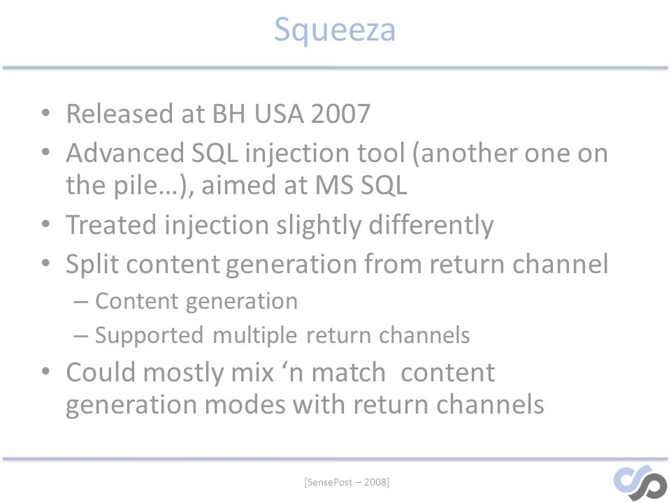Squeeza Released at BH USA 2007