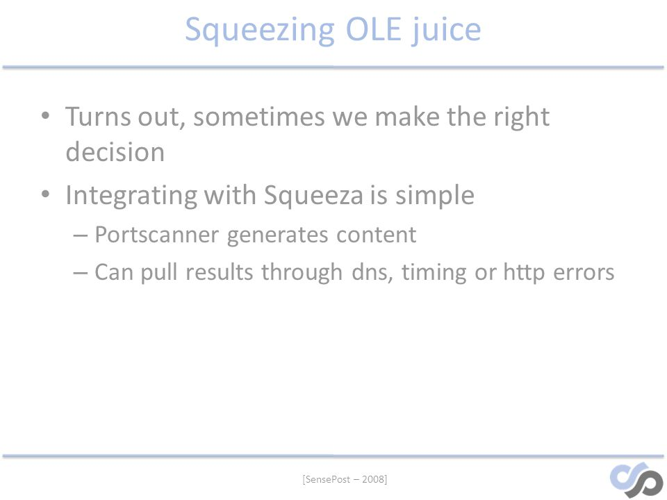 Squeezing OLE juice Turns out, sometimes we make the right decision