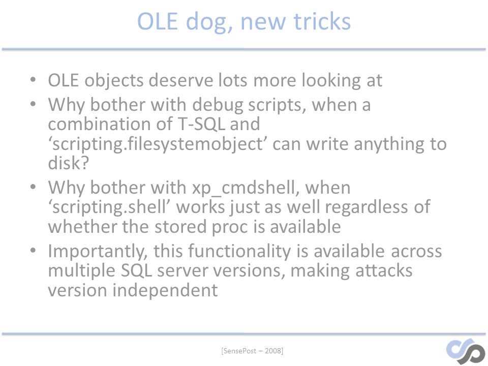OLE dog, new tricks OLE objects deserve lots more looking at