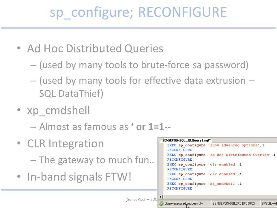sp_configure; RECONFIGURE