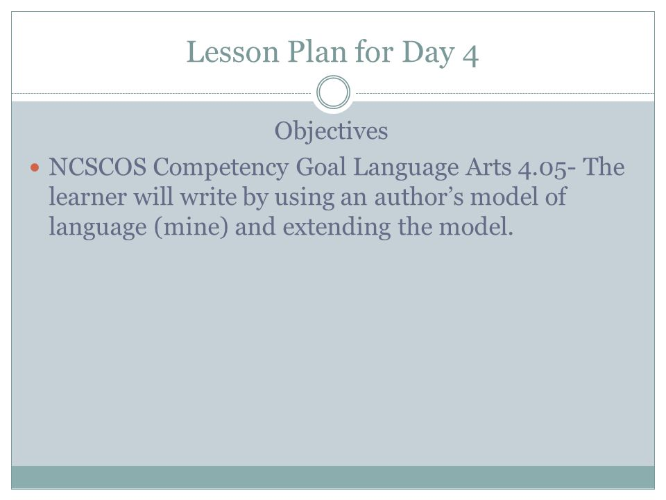 Lesson Plan for Day 4 Objectives