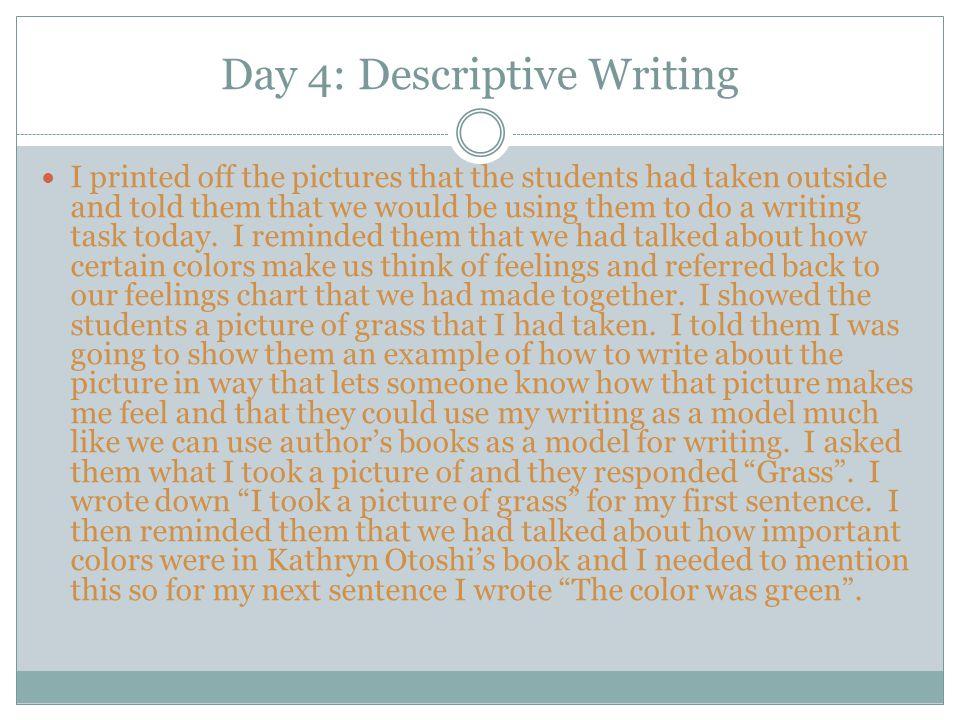 Day 4: Descriptive Writing