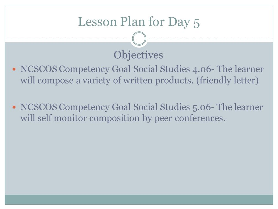 Lesson Plan for Day 5 Objectives