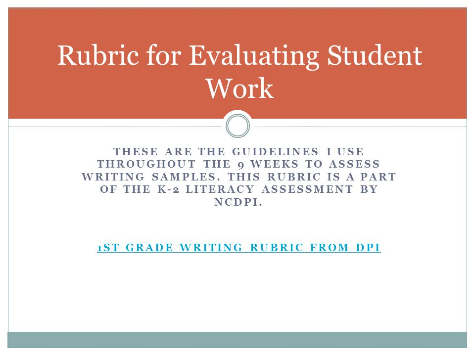 Rubric for Evaluating Student Work